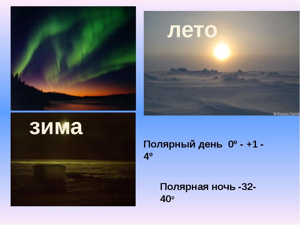 Полярный день 0º - +1 - 4º Полярная ночь -32- 40º лето зима