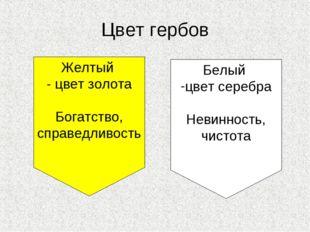 Цвет гербов Желтый - цвет золота Богатство, справедливость Белый цвет серебра