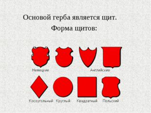 Основой герба является щит. Форма щитов: