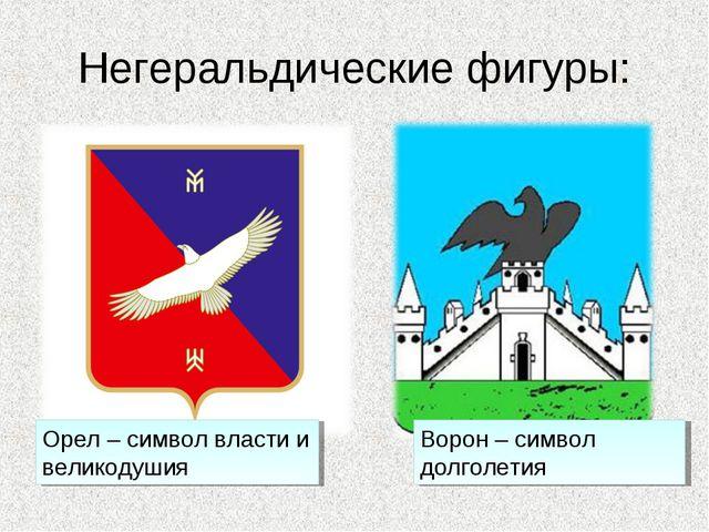 Негеральдические фигуры: Орел – символ власти и великодушия Ворон – символ до...