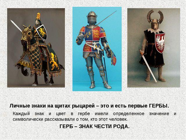 Личные знаки на щитах рыцарей – это и есть первые ГЕРБЫ. Каждый знак и цвет в...