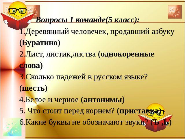 Вопросы 1 команде(5 класс): 1.Деревянный человечек, продавший азбуку (Бурати...