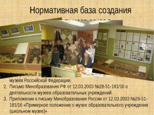Нормативная база создания школьного музея Федеральный закон от 26 мая 1996г.