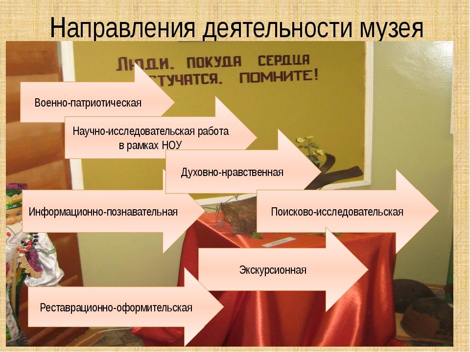 Направления деятельности музея Военно-патриотическая Информационно-познавател...