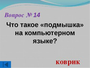 Вопрос № 14 Что такое «подмышка» на компьютерном языке? коврик