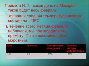 Примета № 2 - каков день на Макаров - таков будет весь февраль. 1 февраля сре