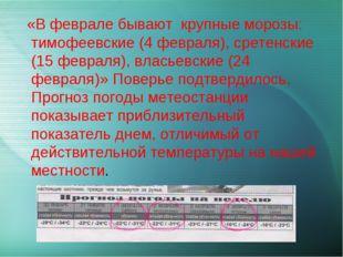 «В феврале бывают крупные морозы: тимофеевские (4 февраля), сретенские (15 ф