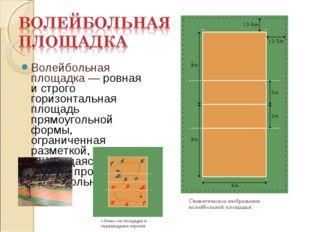 Волейбольная площадка — ровная и строго горизонтальная площадь прямоугольной