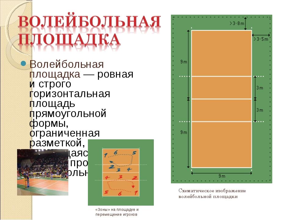 Волейбольная площадка — ровная и строго горизонтальная площадь прямоугольной...