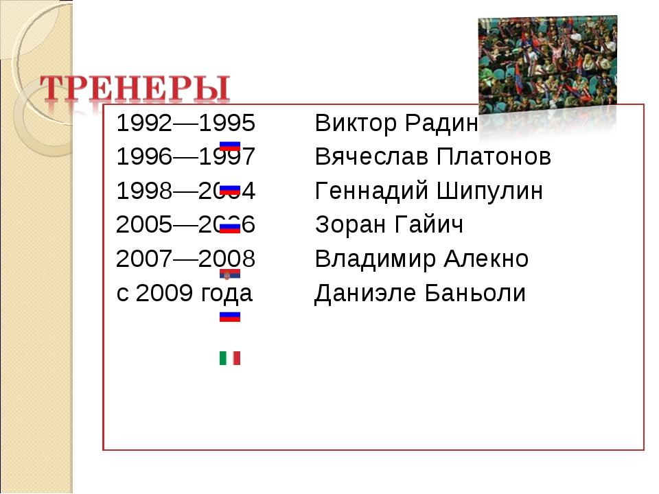 1992—1995 Виктор Радин 1996—1997 Вячеслав Платонов 1998—2004 Геннадий Шипу...