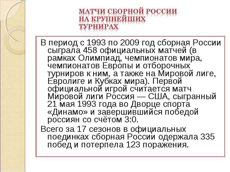 В период с 1993 по 2009 год сборная России сыграла 458 официальных матчей (в...