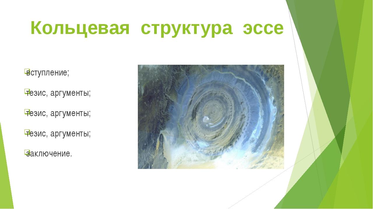 Кольцевая структура эссе вступление; тезис, аргументы; тезис, аргументы; тези...