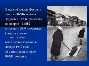 В первой декаде февраля умерло 36606 человек (мужчин - 65,8 процента), во вто