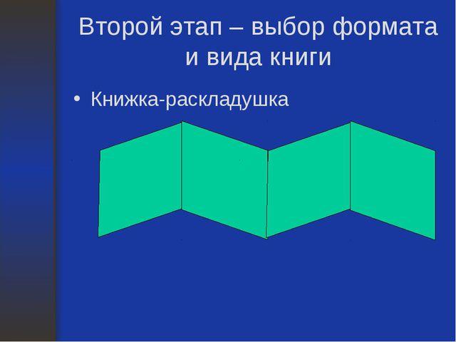 Второй этап – выбор формата и вида книги Книжка-раскладушка