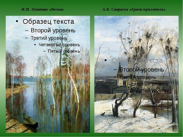 И.И. Левитан «Весна» А.К. Саврасов «Грачи прилетели»