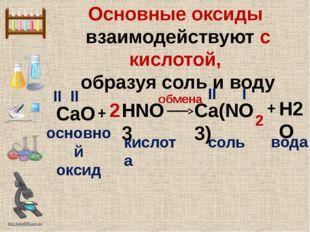 Основные оксиды взаимодействуют с кислотой, образуя соль и воду HNO3 + CaO II