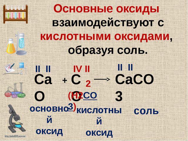 Основные оксиды взаимодействуют с кислотными оксидами, образуя соль. CaO CaCO...