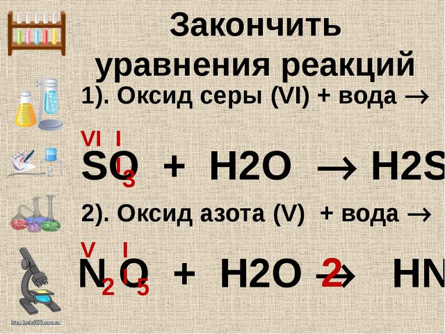 1). Оксид серы (VI) + вода  2). Оксид азота (V) + вода  SO + H2O  H2SO4 VI...