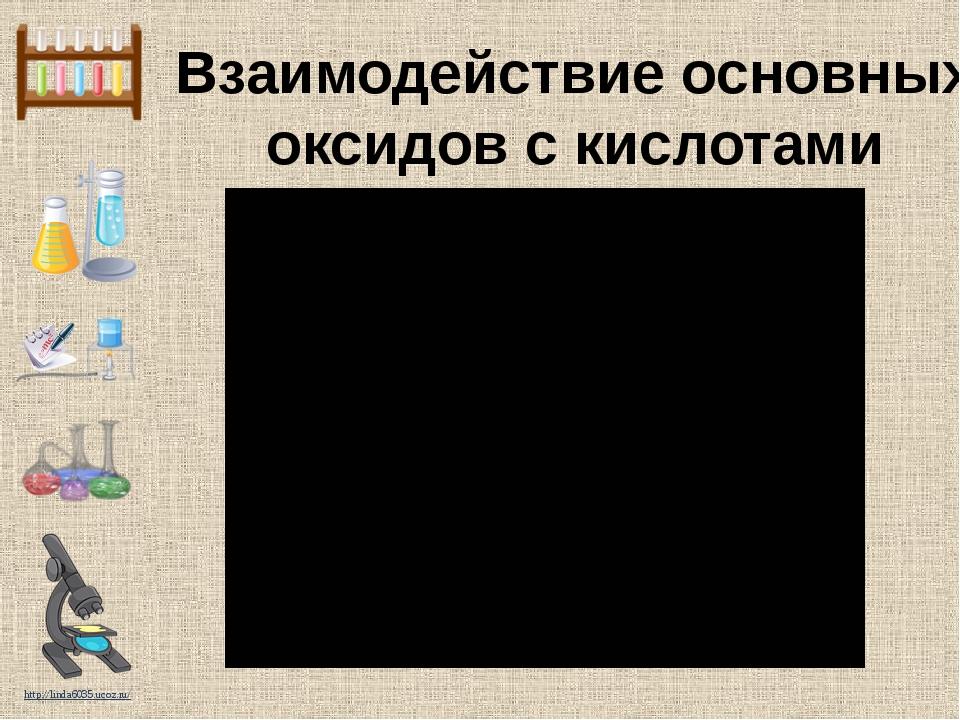 Взаимодействие основных оксидов с кислотами http://linda6035.ucoz.ru/