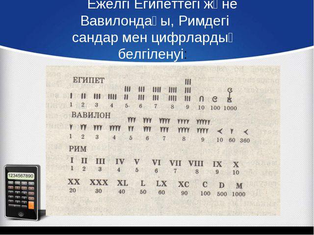 Ежелгі Египеттегі және Вавилондағы, Римдегі сандар мен цифрлардың белгіленуі:
