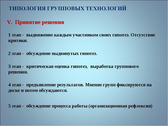V. Принятие решения * 1 этап - выдвижение каждым участником своих гипотез. От...