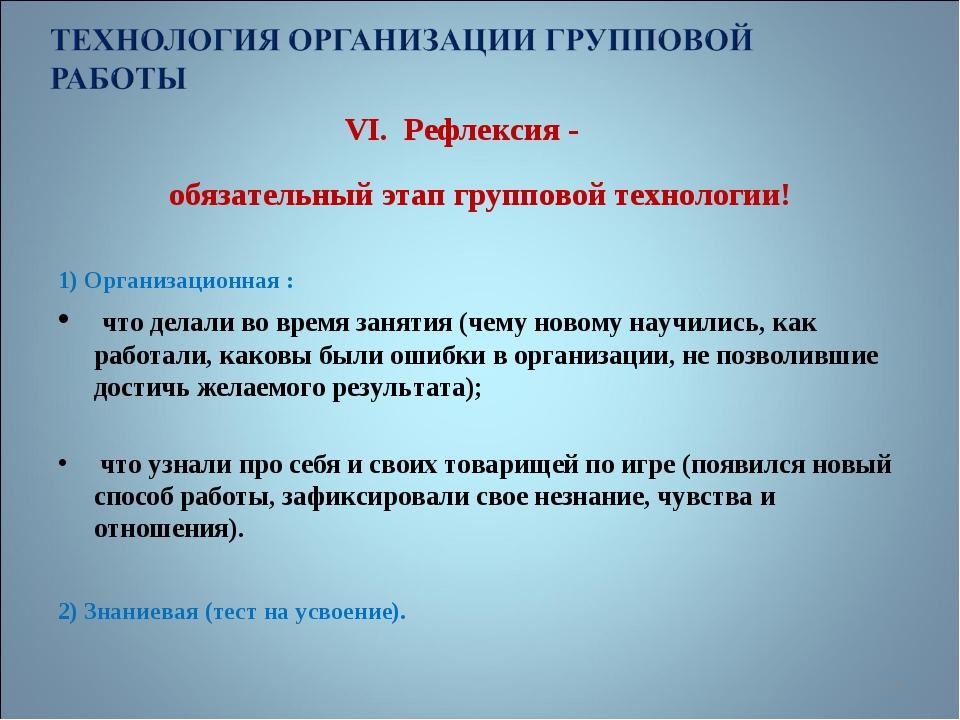VI. Рефлексия - обязательный этап групповой технологии! 1) Организационная :...