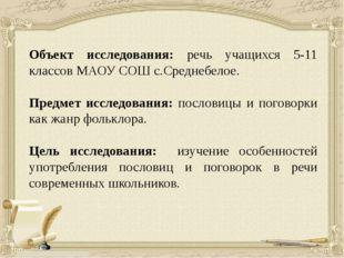 Объект исследования: речь учащихся 5-11 классов МАОУ СОШ с.Среднебелое. Пред