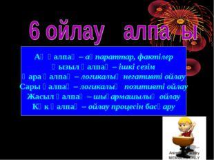 Ақ қалпақ – ақпараттар, фактілер Қызыл қалпақ – ішкі сезім Қара қалпақ – логи