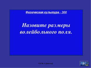 СШ № 4 Джалтыр Физическая культура - 300 Назовите размеры волейбольного поля.