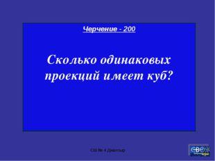 СШ № 4 Джалтыр Черчение - 200 Сколько одинаковых проекций имеет куб? СШ № 4 Д