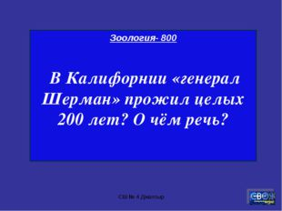 СШ № 4 Джалтыр Зоология- 800 В Калифорнии «генерал Шерман» прожил целых 200 л