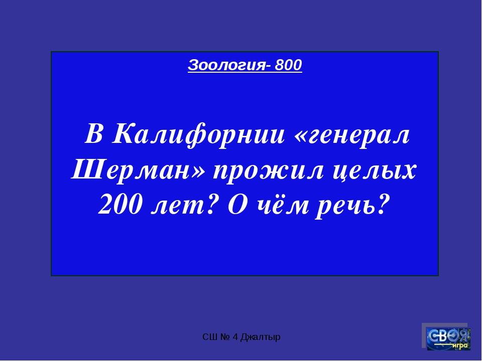 СШ № 4 Джалтыр Зоология- 800 В Калифорнии «генерал Шерман» прожил целых 200 л...