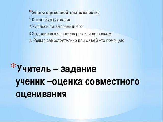 Учитель – задание ученик –оценка совместного оценивания Этапы оценочной деяте...