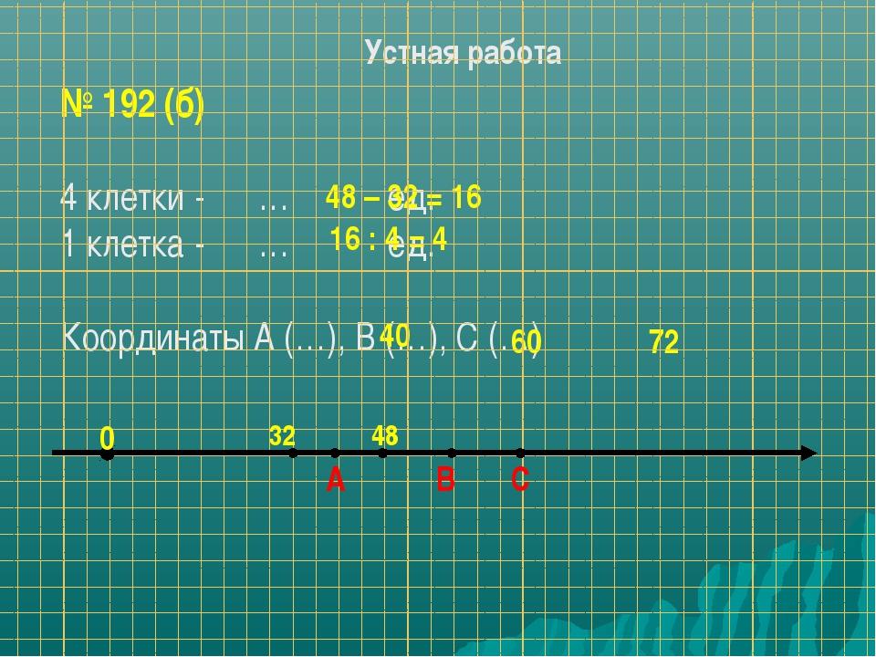 Устная работа № 192 (б) 4 клетки - … ед. 1 клетка - … ед. Координаты А (…), В...