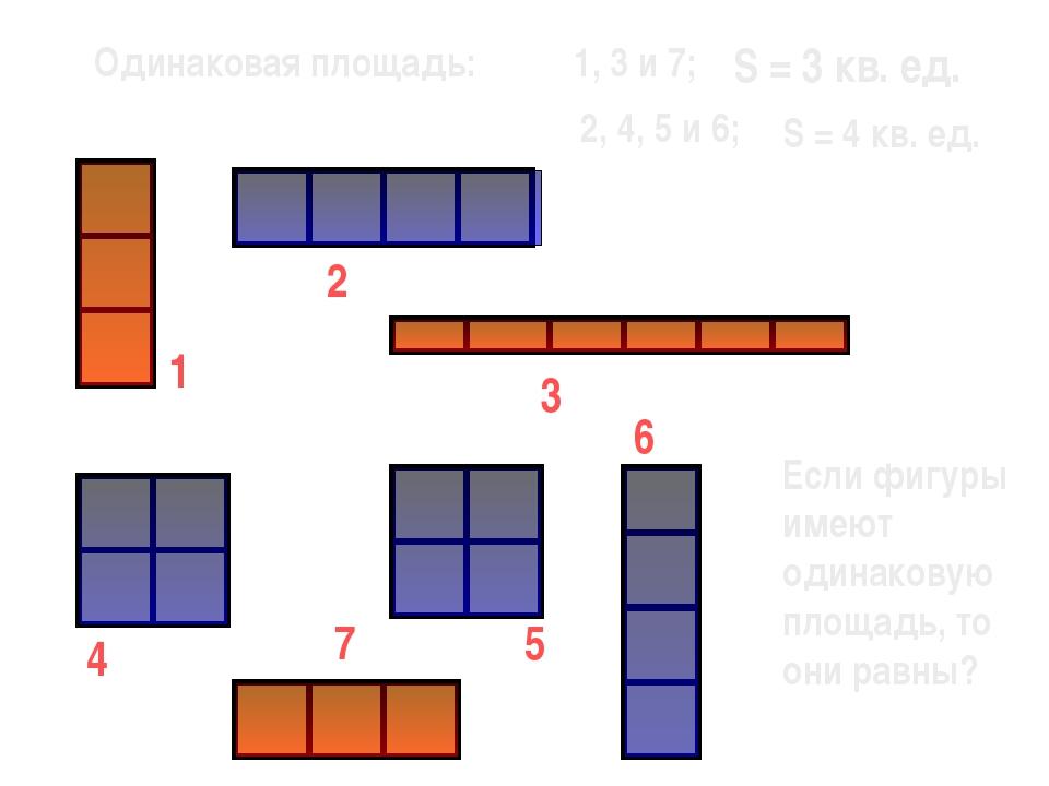 1 7 6 5 3 2 4 Одинаковая площадь: 1, 3 и 7; 2, 4, 5 и 6; S = 3 кв. ед. S = 4...