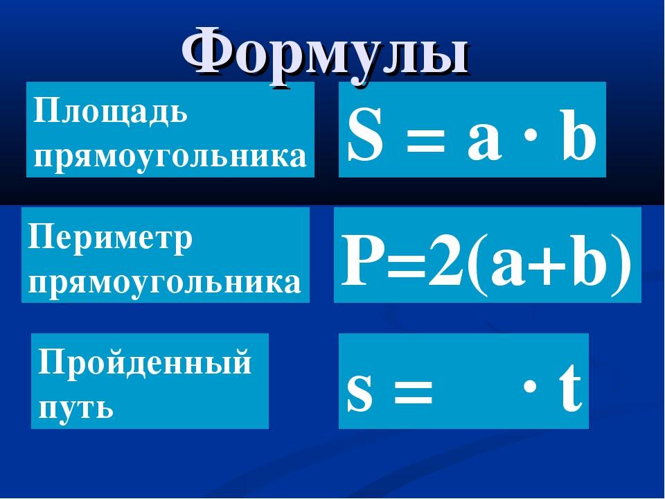 S = a ∙ b Площадь прямоугольника Периметр прямоугольника Пройденный путь Р=2(...