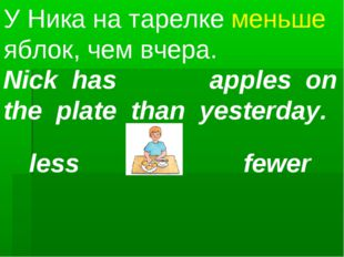 Nick has apples on the plate than yesterday. У Ника на тарелке меньше яблок,