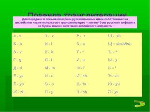 Правила транслитерации Для передачи в письменной речи русскоязычных имен собс