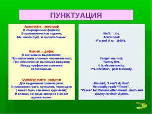 Apostrophe - апостроф В сокращенных формах; В притяжательном падеже; Мн. числ