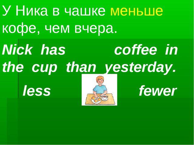 Nick has coffee in the cup than yesterday. У Ника в чашке меньше кофе, чем вч...