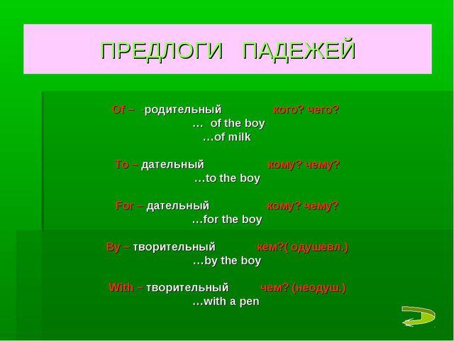 ПРЕДЛОГИ ПАДЕЖЕЙ Of – -родительный кого? чего? … of the boy …of milk To – дат...
