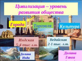 Цивилизация – уровень развития общества Города Торговля Культура Индская 5-4