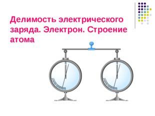 Делимость электрического заряда. Электрон. Строение атома