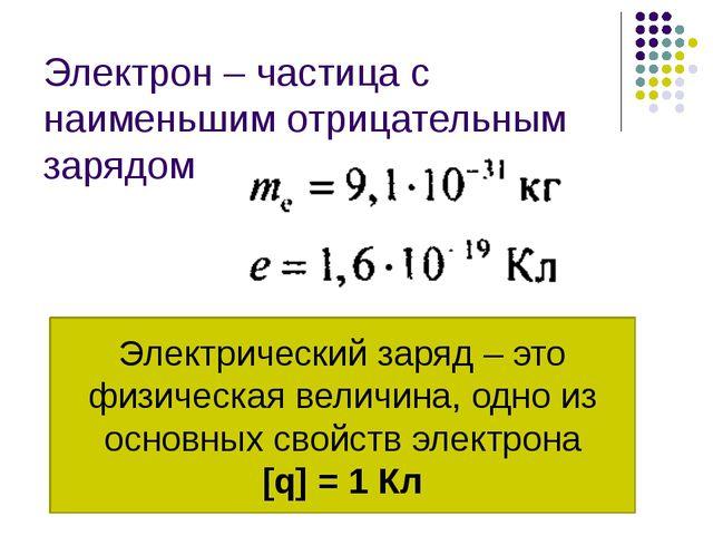 Электрон – частица с наименьшим отрицательным зарядом Электрический заряд – э...