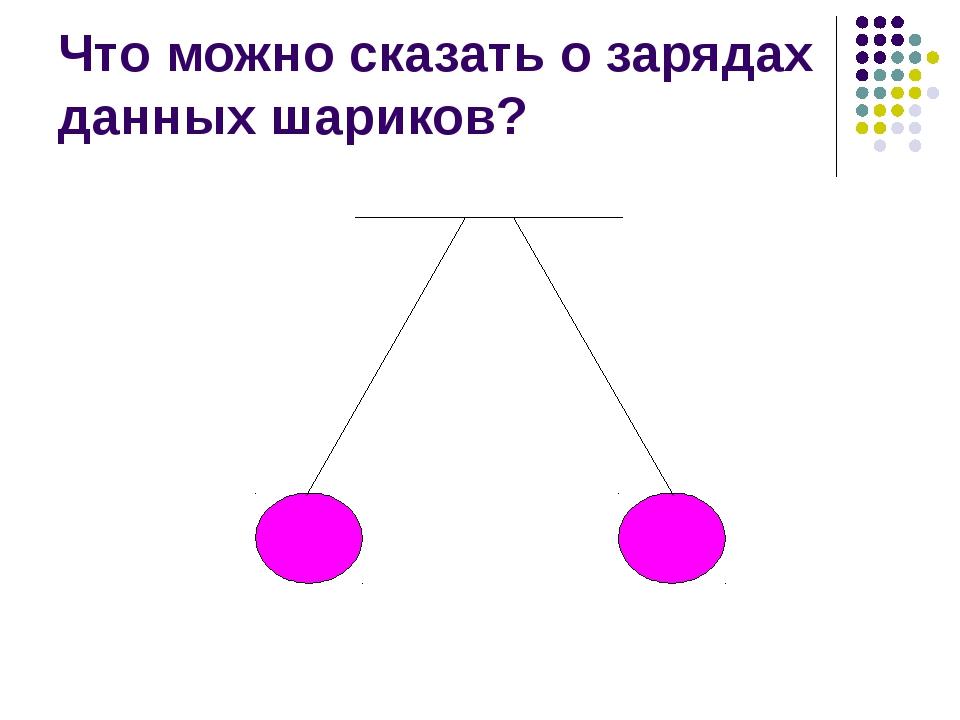Что можно сказать о зарядах данных шариков?