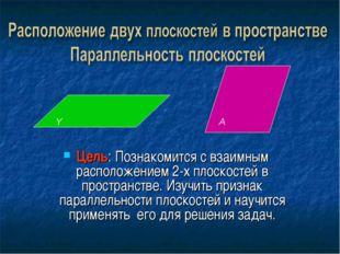 Цель: Познакомится с взаимным расположением 2-х плоскостей в пространстве. Из