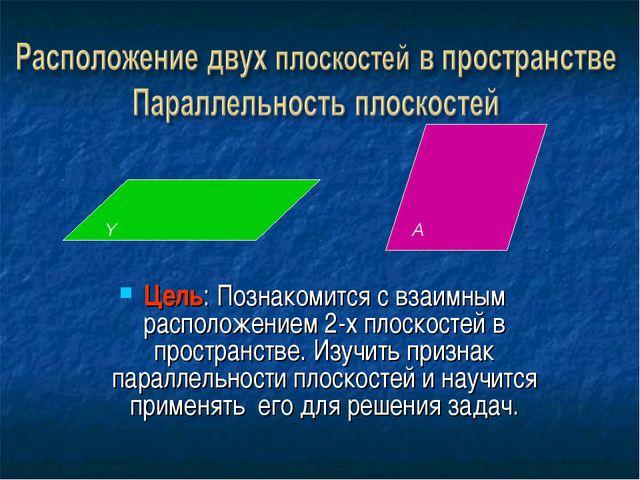 Цель: Познакомится с взаимным расположением 2-х плоскостей в пространстве. Из...