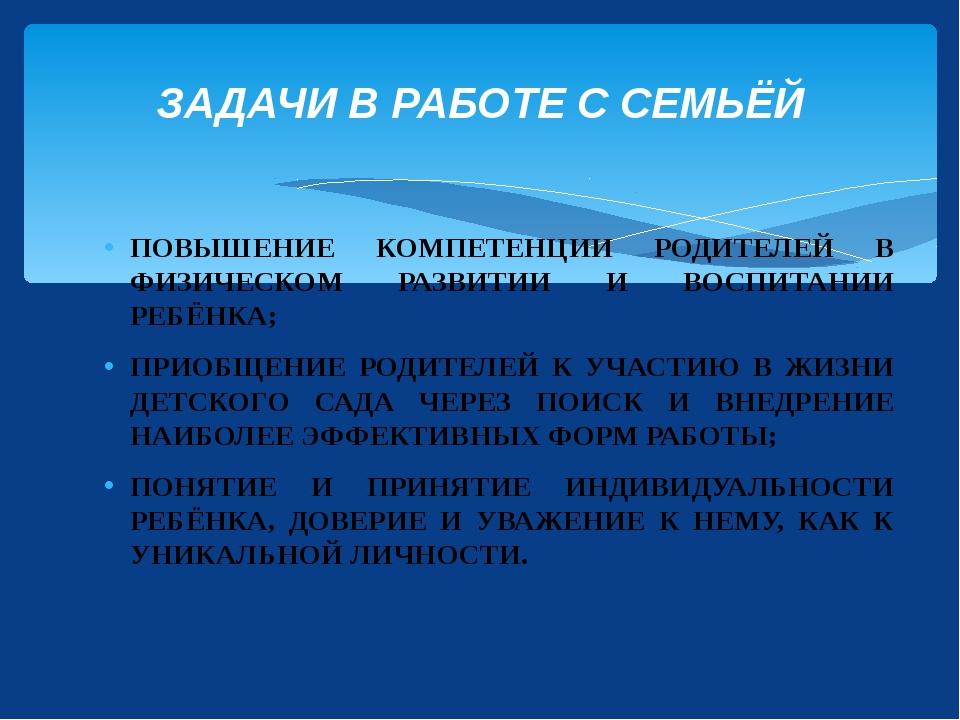 ПОВЫШЕНИЕ КОМПЕТЕНЦИИ РОДИТЕЛЕЙ В ФИЗИЧЕСКОМ РАЗВИТИИ И ВОСПИТАНИИ РЕБЁНКА; П...