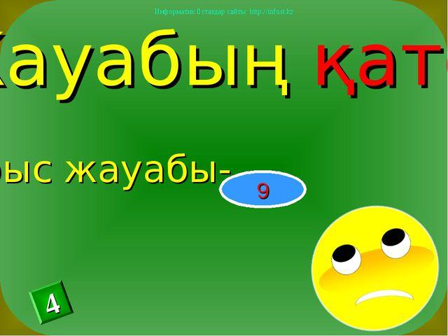 Жауабың қате Дұрыс жауабы- 9 4 Информатик ұстаздар сайты: http://infust.kz