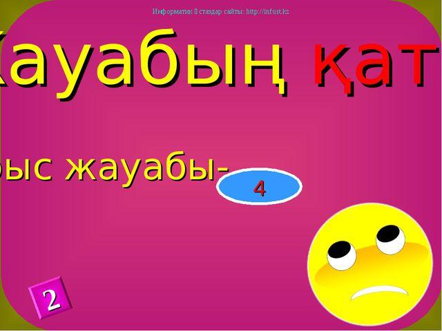 Жауабың қате Дұрыс жауабы- 4 2 Информатик ұстаздар сайты: http://infust.kz